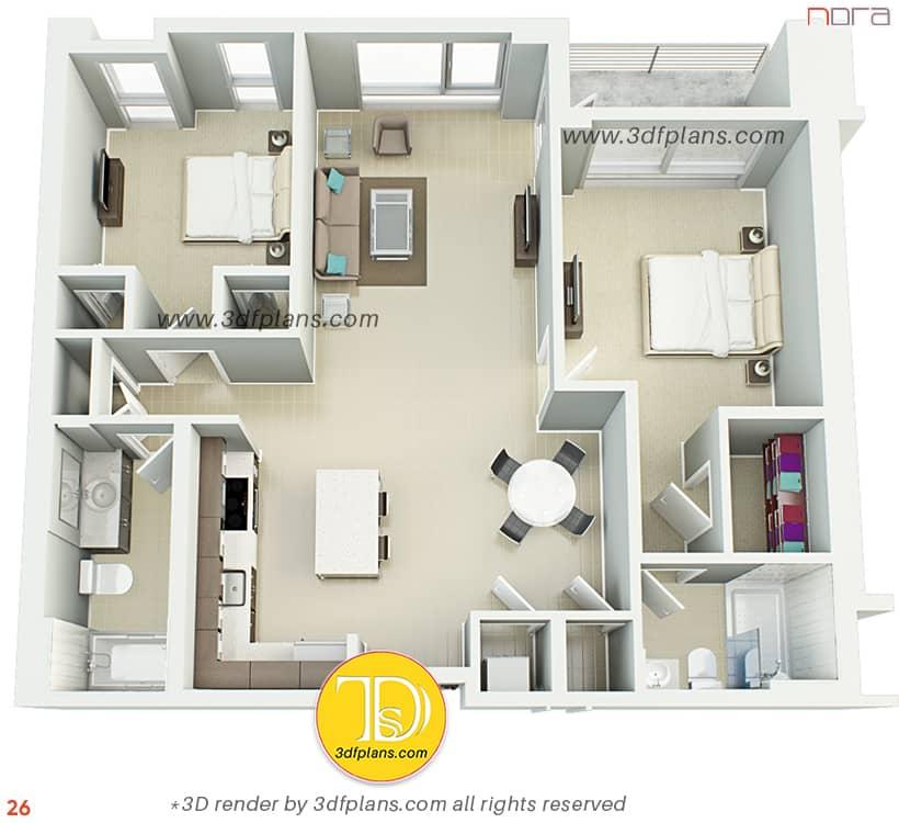 Best 2 bedroom 3d floorplan in 2021