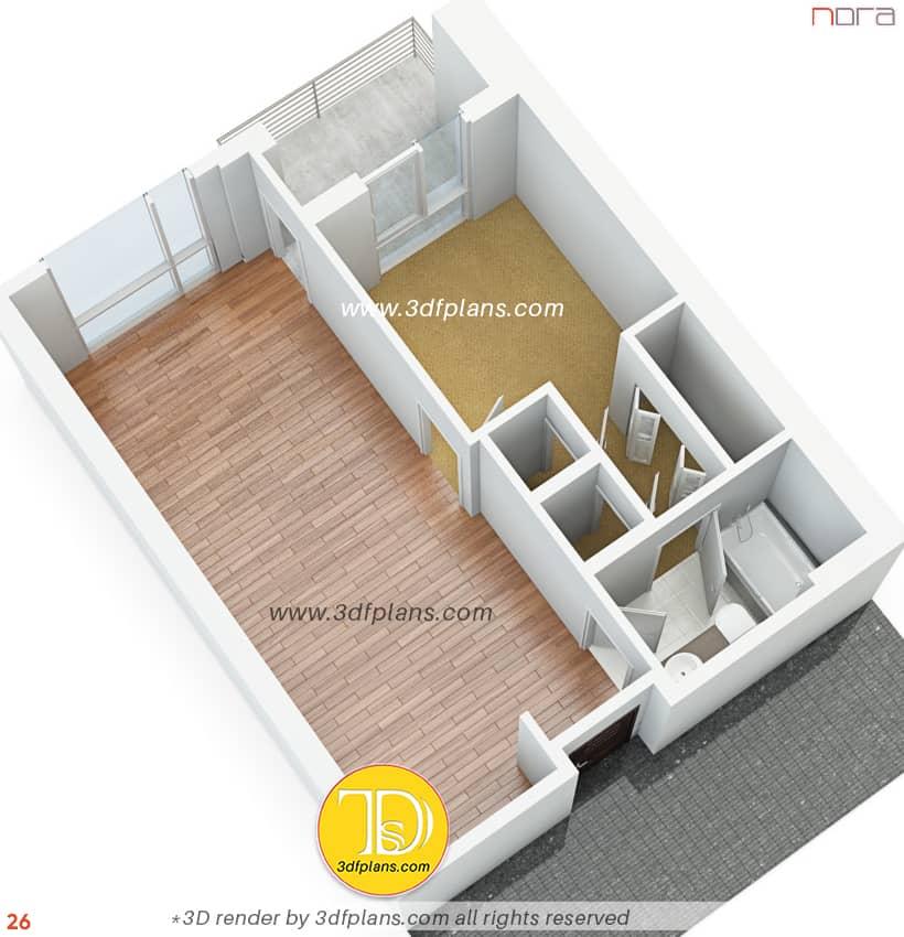 Bird view 3d floor plan by 3dfplans.com