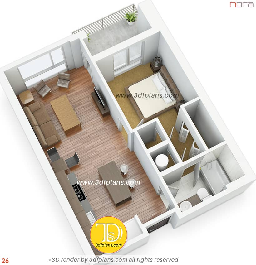 Orlando apartment 3d floor plan rendering by 3dfplans.com