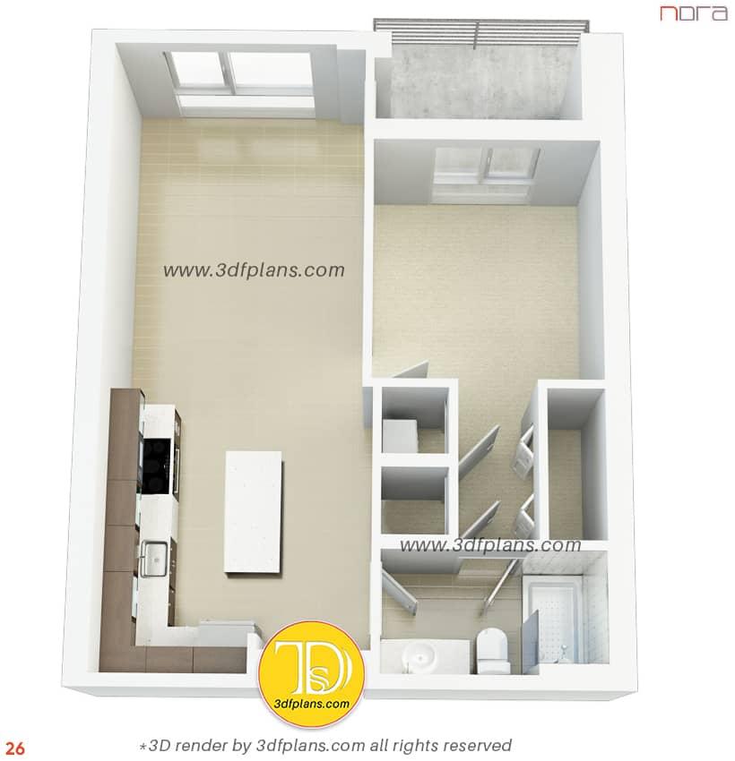 High quality 3d floor plan rendering, best 3d floor plan, one bedroom plan in 3d, 3d floor plans, unfurnished plan