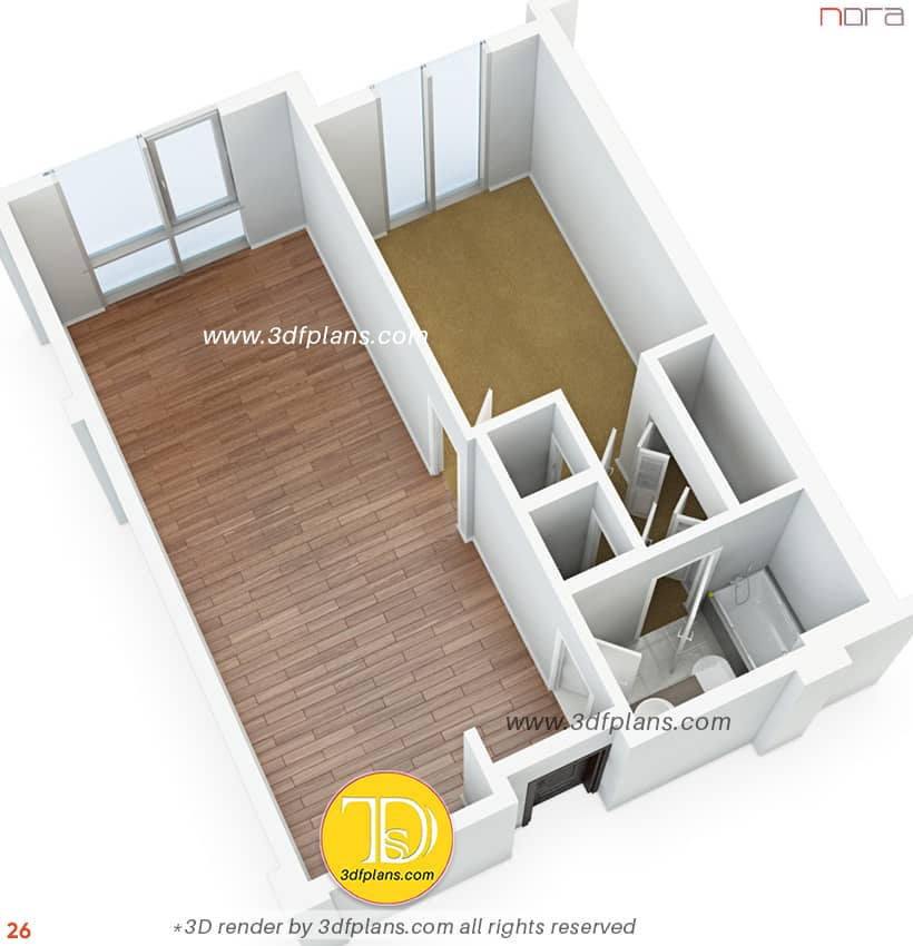 Small apartment 3D floor plan, 3d plan for renovation