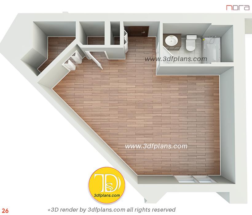 Studio 3D floor plan in Orlando, studio apartment 3d plan