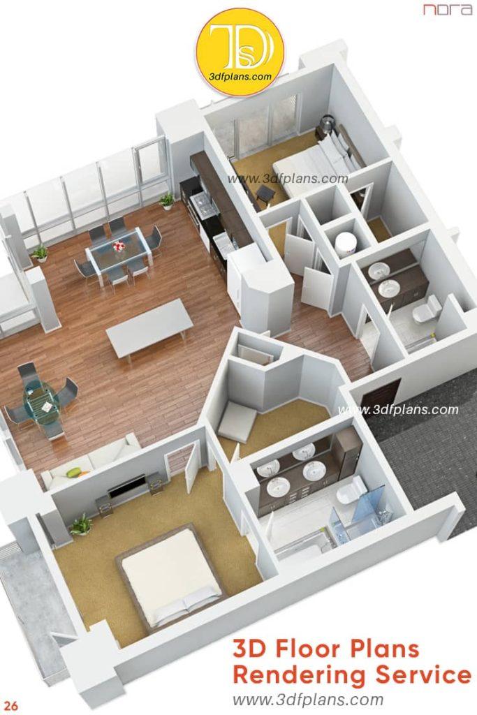Two bedroom apartment 3d floor plan Orlando